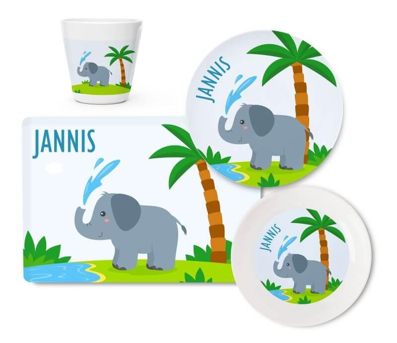 Kindergeschirr Melamin_Set Elefant 1